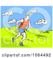 Clipart Marathon Runner In A Field Royalty Free Vector Illustration
