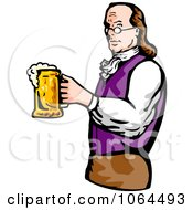Clipart Benjamin Franklin Holding Beer Royalty Free Vector Illustration