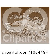 Clipart Brown Trout Swimming In Water Royalty Free Vector Illustration