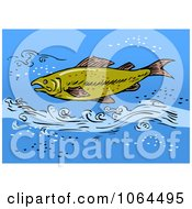Clipart Trout Swimming In Blue Water Royalty Free Vector Illustration