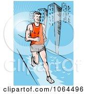 Clipart Marathon Runner On A Sidewalk Royalty Free Vector Illustration