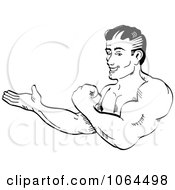 Clipart Retro Bodybuilder Flexing And Presenting Royalty Free Vector Illustration by Andy Nortnik