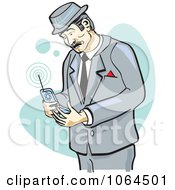 Retro Businessman Using A Cell Phone
