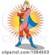 Clipart Male Super Hero Standing Proud Royalty Free Vector Illustration by Andy Nortnik