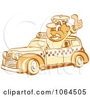 Clipart Retro Thumbs Up Taxi Driver Man Royalty Free Vector Illustration