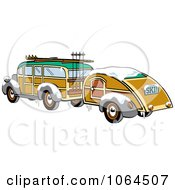Clipart Woody Sedan With Skis And A Trailer Royalty Free Vector Illustration by Andy Nortnik