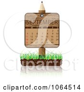 Clipart Wooden September Calendar Posted In Grass Royalty Free Vector Illustration
