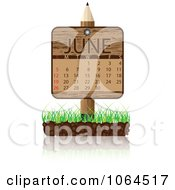 Clipart Wooden June Calendar Posted In Grass Royalty Free Vector Illustration by Andrei Marincas