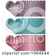 Clipart Stone Heart Banners Digital Collage Royalty Free Vector Illustration