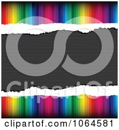 Clipart Torn Rainbow And Carbon Fiber Background Royalty Free Vector Illustration by Andrei Marincas
