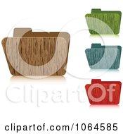 Clipart 3d Wooden Folders Royalty Free Vector Illustration