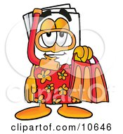 Clipart Picture Of A Paper Mascot Cartoon Character In Orange And Red Snorkel Gear by Toons4Biz
