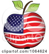 Clipart American Flag Apple Royalty Free Vector Illustration by Andrei Marincas