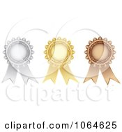 Clipart 3d Medal Rosettes Royalty Free Vector Illustration