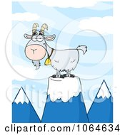 Clipart Pet Goat On A Mountain Royalty Free Vector Illustration