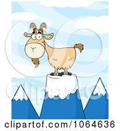 Clipart Goat On A Mountain Royalty Free Vector Illustration