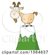 Clipart Goat Atop A Mountain Royalty Free Vector Illustration