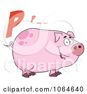 Clipart P Is For Pig Over A Piggy Royalty Free Vector Illustration