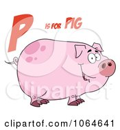 Clipart Piggy Under P Is For Pig Royalty Free Vector Illustration