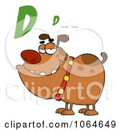 Clipart D Is For Dog Over A Bulldog Royalty Free Vector Illustration