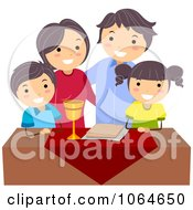 Clipart Jeweish Family Celebrating Passover With Matza Royalty Free Vector Illustration by BNP Design Studio