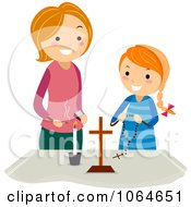 Clipart Mother And Girl At A Christian Altar Royalty Free Vector Illustration