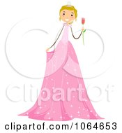 Clipart Stick Girl In A Pink Birthday Dress Royalty Free Vector Illustration by BNP Design Studio
