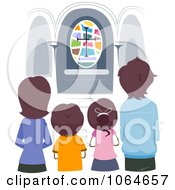 Clipart Christian Family In Church Royalty Free Vector Illustration