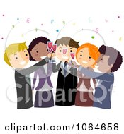 Clipart Colleagues Toasting At An Office Party Royalty Free Vector Illustration by BNP Design Studio