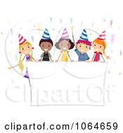 Clipart Kids Holding A Party Banner Royalty Free Vector Illustration