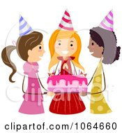 Clipart Friends Holding A Birthday Girls Cake Royalty Free Vector Illustration