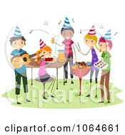 Clipart BBQ Birthday Party Royalty Free Vector Illustration