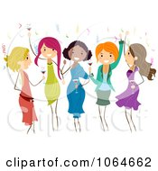 Clipart Group Of Ladies Dancing At A Party Royalty Free Vector Illustration