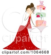 Clipart Eighteen Year Old Girl By Her Cake Royalty Free Vector Illustration