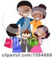 Clipart Black Family Celebrating Dads Birthday Royalty Free Vector Illustration by BNP Design Studio