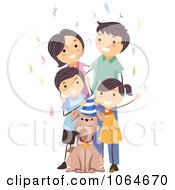 Clipart Family Celebrating Their Dogs Birthday Royalty Free Vector Illustration