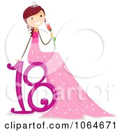 Clipart Girl Sitting On 18 And Holding A Rose Royalty Free Vector Illustration by BNP Design Studio