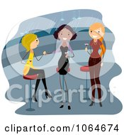 Clipart Three Ladies Drinking At A Bar Royalty Free Vector Illustration