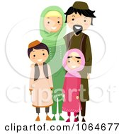 Clipart Happy Muslim Family Royalty Free Vector Illustration