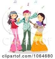 Clipart Teens At A Hippie Party Royalty Free Vector Illustration