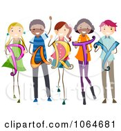 Clipart Kids Holding PARTY Royalty Free Vector Illustration