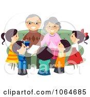 Clipart Grandchildren Celebrating Grandparents Day Royalty Free Vector Illustration