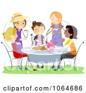 Clipart Girls Having A Tea Party Royalty Free Vector Illustration by BNP Design Studio