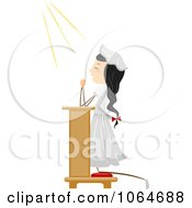 Clipart Girl Praying On Her Knees Royalty Free Vector Illustration