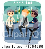 Clipart Three Guys At A Bar Royalty Free Vector Illustration