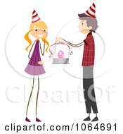 Clipart Boy Giving A Birthday Girl A Bird Royalty Free Vector Illustration