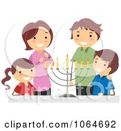 Clipart Jewish Family And Hanukkah Menorah Royalty Free Vector Illustration
