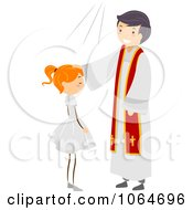 Clipart Girls Confirmation Ceremony Royalty Free Vector Illustration
