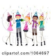 Clipart Teens At A Birthday Party Royalty Free Vector Illustration