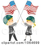 Clipart Memorial Day Kids Wearing Helmets And Holding American Flags Royalty Free Vector Illustration
